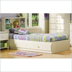 South Shore Sand Castle Twin Bookcase Bed Set in Pure White Finish