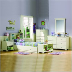South Shore Sand Castle Kids Twin Wood Mates Storage Bed 5 Piece Bedroom Set in White