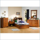 South Shore Sand Castle Kids Twin Wood Mates Storage Bed 5 Piece Bedroom Set in Sunny Pine