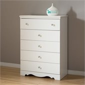 South Shore Crystal Kids 5 Drawer Chest in Pure White Finish