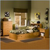 South Shore Brinley Kids Twin Wood Captain's Bed 4 Piece Bedroom Set in Florence Maple