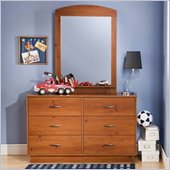 South Shore Logik Sunny Pine Double Dresser and Mirror Set