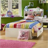 South Shore Logik Pure White Twin Mates Storage Bed Frame Only