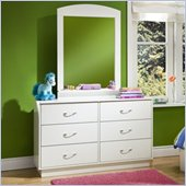 South Shore Logik Pure White Double Dresser and Mirror Set