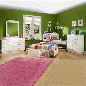 South Shore Logik Kids Wood White Captain's Bed 5 Piece Bedroom Set