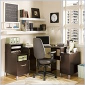 South Shore Element Home Office Corner Computer Desk in Chocolate Finish
