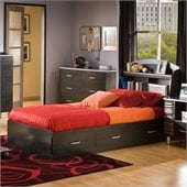 South Shore Cosmos Kids Twin Mates Bed Frame Only in Black Onyx/Charcoal