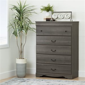 South Shore Vintage 5 Drawer Chest in Gray Maple