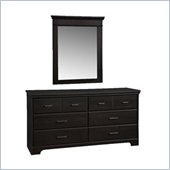 South Shore Versa Double Dresser and Mirror Set in Black Ebony