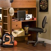 South Shore Logik Wood Loft Desk with Hutch in Sunny Pine