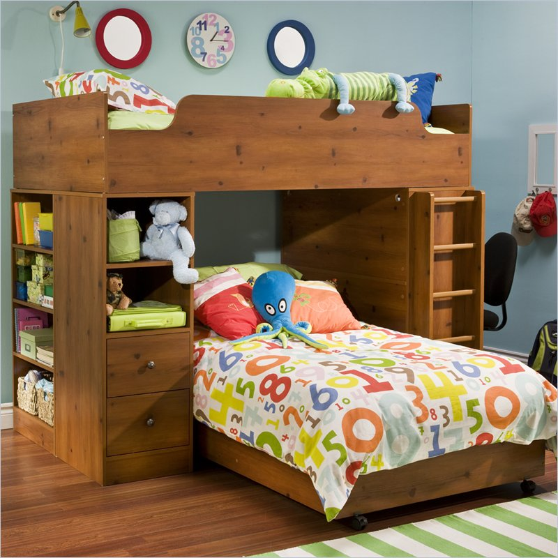 Logik Twin Over Twin L-shaped Wood Loft Bunk Bed In Sunny Pine Finish