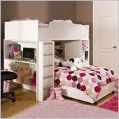 South Shore Logik L-Shaped Twin over Twin Wood Loft Bunk Bed in Pure White Finish