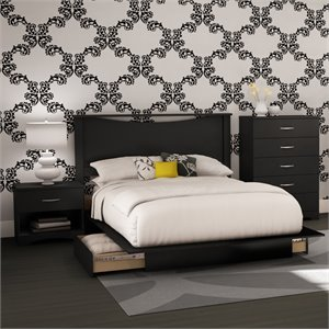 South Shore Step One 4 Piece Full Bedroom Set in Pure Black