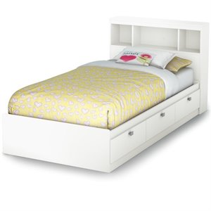 South Shore Spark Storage Bed with Bookcase Headboard in Pure White