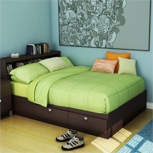 South Shore Cakao Kids Full Storage Mates Bed Frame Only in Chocolate Finish