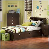South Shore Cakao Mates Twin Captain's Bed with Bookcase Headboard in Chocolate Finish