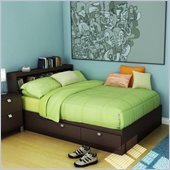 South Shore Cakao Kids Full Bookcase Storage Bed Set in Chocolate Finish