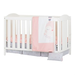 South Shore Angel Crib with 4 Piece Bed Set in White and Pink