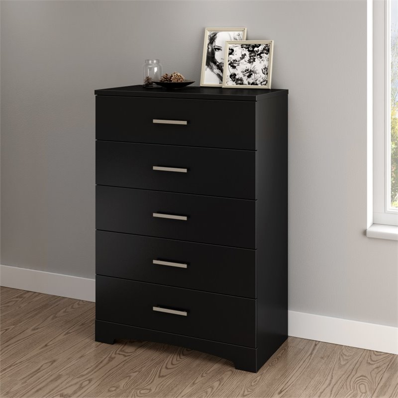 South Shore Gramercy 5 Drawer Chest in Pure Black