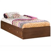 South Shore Mika Kids Twin Storage Mates Bed Frame Only in Classic Cherry Finish