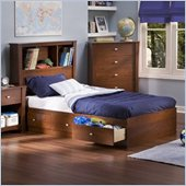South Shore Mika Kids Twin Bookcase Storage Bed Set in Classic Cherry Finish