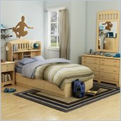 South Shore Newton Kids Twin Wood Mates Storage Bed 6 Piece Bedroom Set in Natural Maple