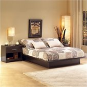 South Shore Back Bay Dark Chocolate Wood Platform Bed 4 Piece Bedroom Set