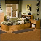 South Shore Brinley Kids Twin Wood Captain's Bed 3 Piece Bedroom Set in Florence Maple