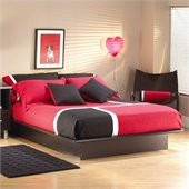 South Shore Cosmos Black Wood Platform Bed 3 Piece Bedroom Set