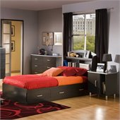 South Shore Cosmos Kids Twin Onyx Wood Bookcase Bed 4 Piece Bedroom Set