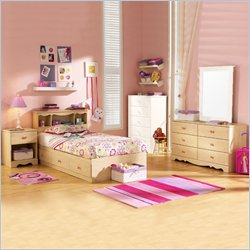 South Shore Lily Rose Kids Twin Wood Captain's Bed 4 Piece Bedroom Set in Romantic Pine