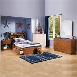 South Shore Logik Kids Sunny Pine Twin Wood Storage Bed 4 Piece Boys' Bedroom Set