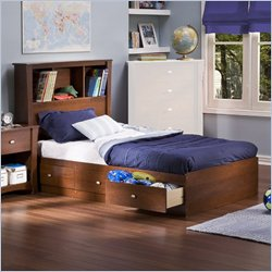 South Shore Mika Classic Cherry Kids Twin Wood Bookcase Bed 4 Piece Bedroom Set