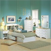 South Shore Newbury Twin Captain Storage 6 Piece Bedroom Set in White