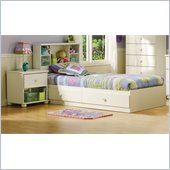 South Shore Sand Castle Pure White Kids Twin Wood Mates Storage Bed 3 Piece Bedroom Set