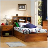 South Shore Sand Castle Kids Twin Wood Mates Storage Bed 3 Piece Bedroom Set in Sunny Pine