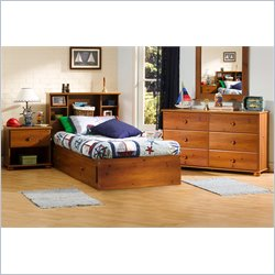 South Shore Sand Castle Kids Twin Mates Storage Bed 4 Piece Bedroom Set in Sunny Pine