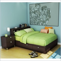 South Shore Cakao Kids Full Storage Bed 4 Piece Bedroom Set in Chocolate
