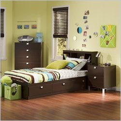 South Shore Cakao Kids Twin 3 Piece Bedroom Set with Bookcase Headboard in Chocolate