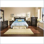South Shore Versa Full/Queen Wood Panel Headboard 5 Piece Bedroom Set in Black Ebony