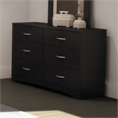 South Shore Maddox 6 Drawer Double Dresser in Pure Black