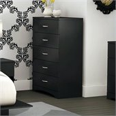 South Shore Maddox Contemporary 5 Drawer Chest in Pure Black Finish