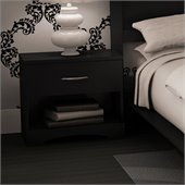 South Shore Maddox Contemporary Nightstand in Pure Black Finish