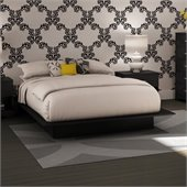 South Shore Maddox Full/Queen Black Wood Platform Bed 3 Piece Bedroom Set