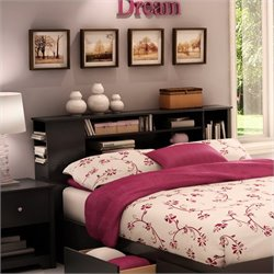 South Shore Breakwater Full/Queen Bookcase Headboard in Black