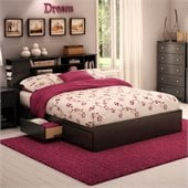 South Shore Breakwater Queen Storage Mates Bed Frame Only in Black Finish