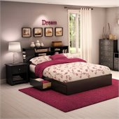 South Shore Breakwater Queen Wood Mates Storage Bed 3 Piece Bedroom Set in Black