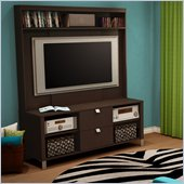 South Shore Cakao 2 Drawer TV Stand with Hutch in Chocolate Finish