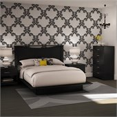 South Shore Maddox Full/Queen Platform Bed Set in Pure Black Finish