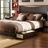 South Shore Back Bay Queen Storage Platform Bed Set in Dark Chocolate Finish